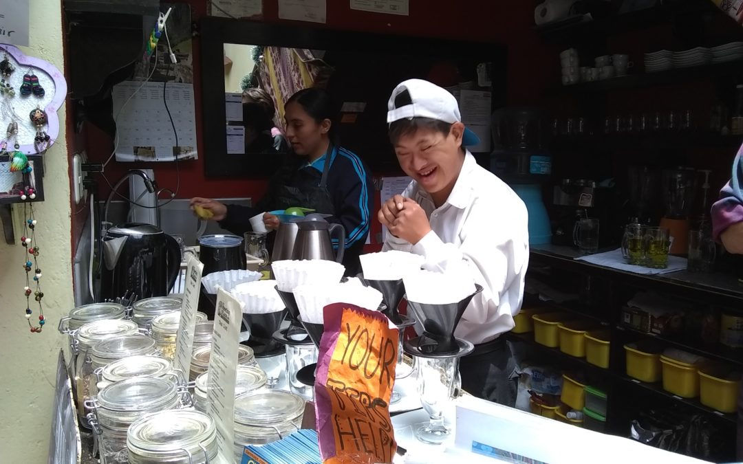 MU Youth Working in Hip Tourist Cafe in Cusco